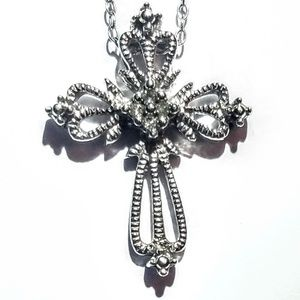925 over filagree and diamond cross necklace